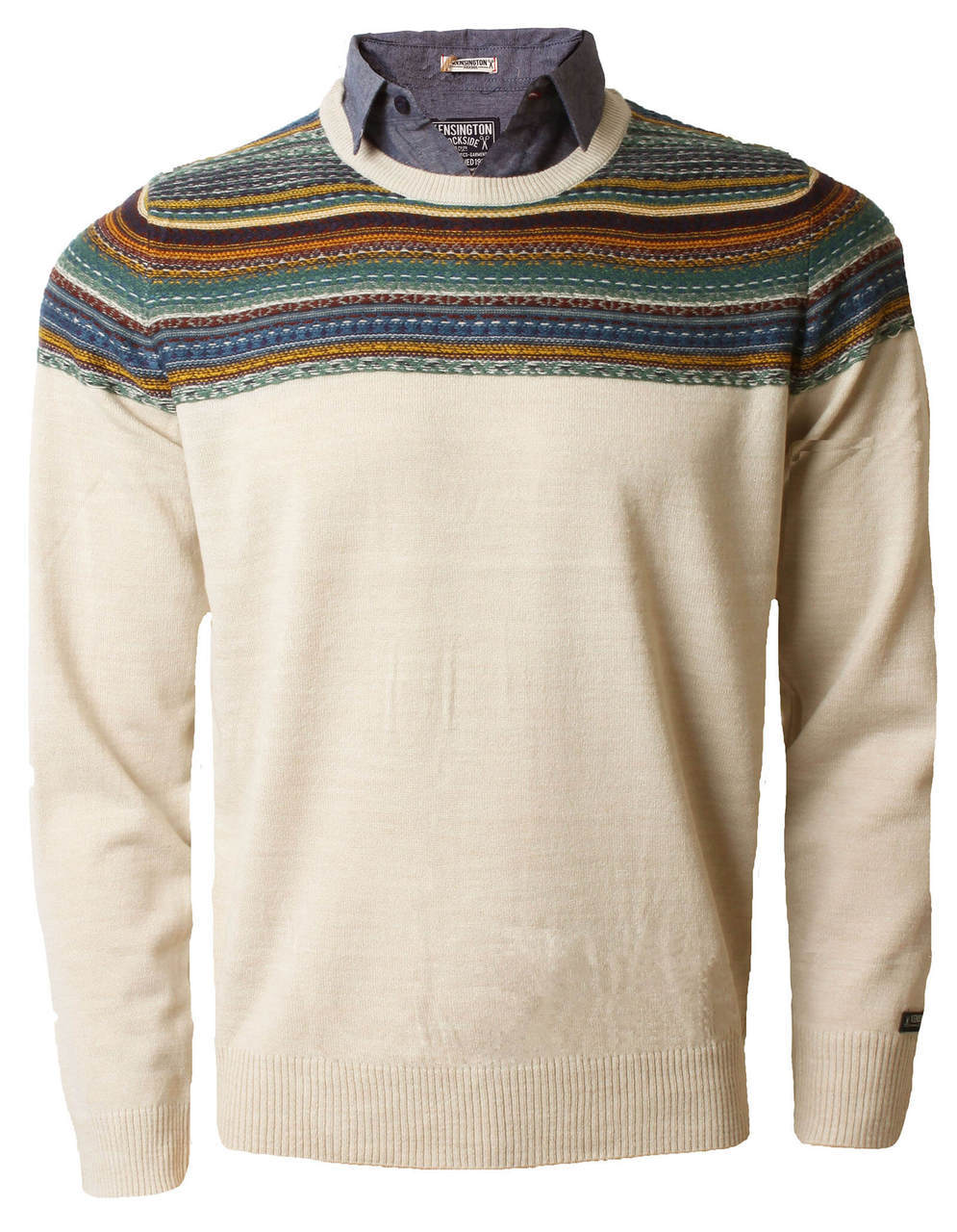 Kensington inserted shirt collar crew neck jumper oatgrey for Crew neck sweater with collared shirt