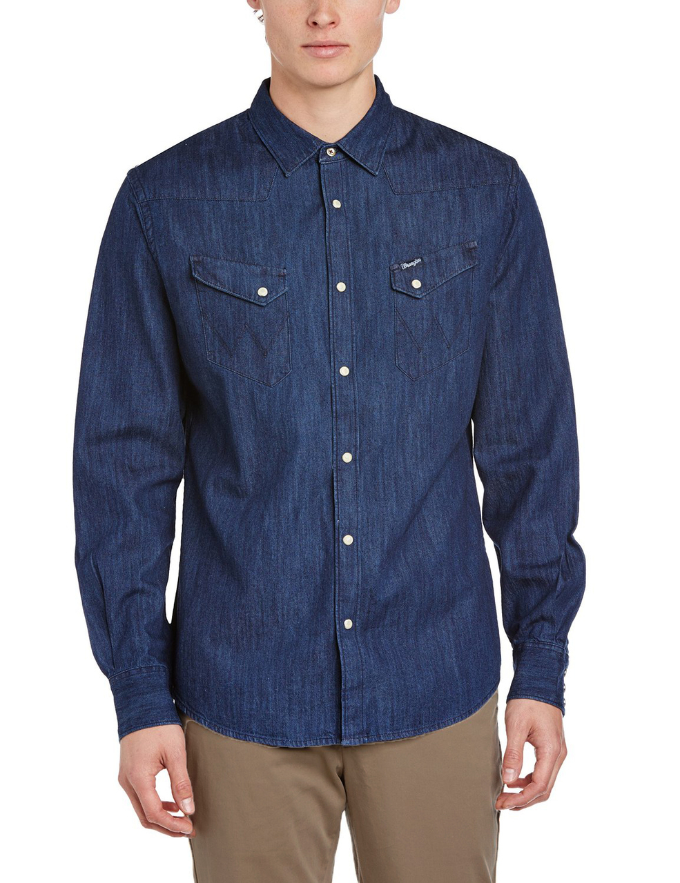 Wrangler denim shirt long sleeve western dark indigo blue for Wrangler denim shirts uk