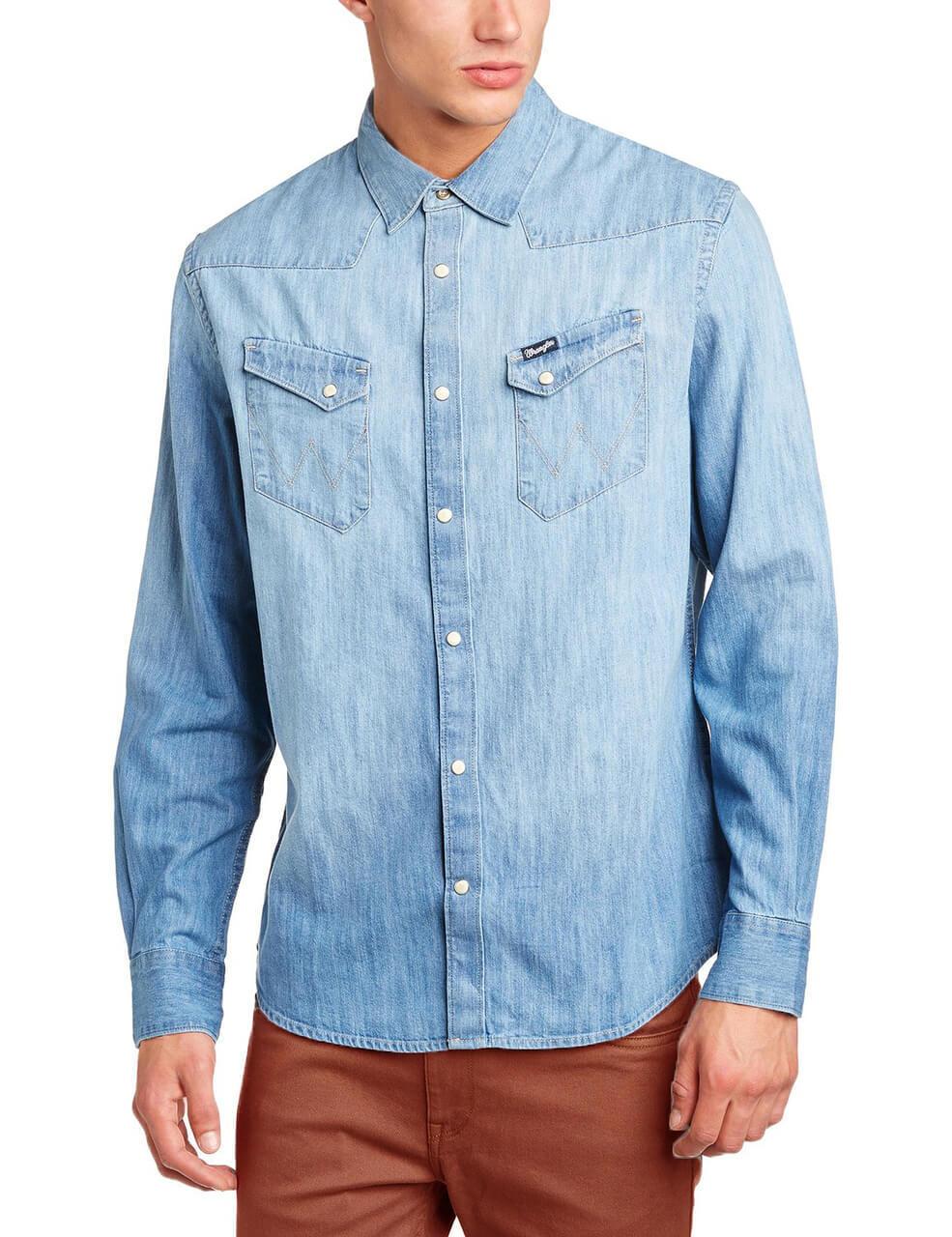 Wrangler denim shirt long sleeve western light indigo blue for Wrangler denim shirts uk