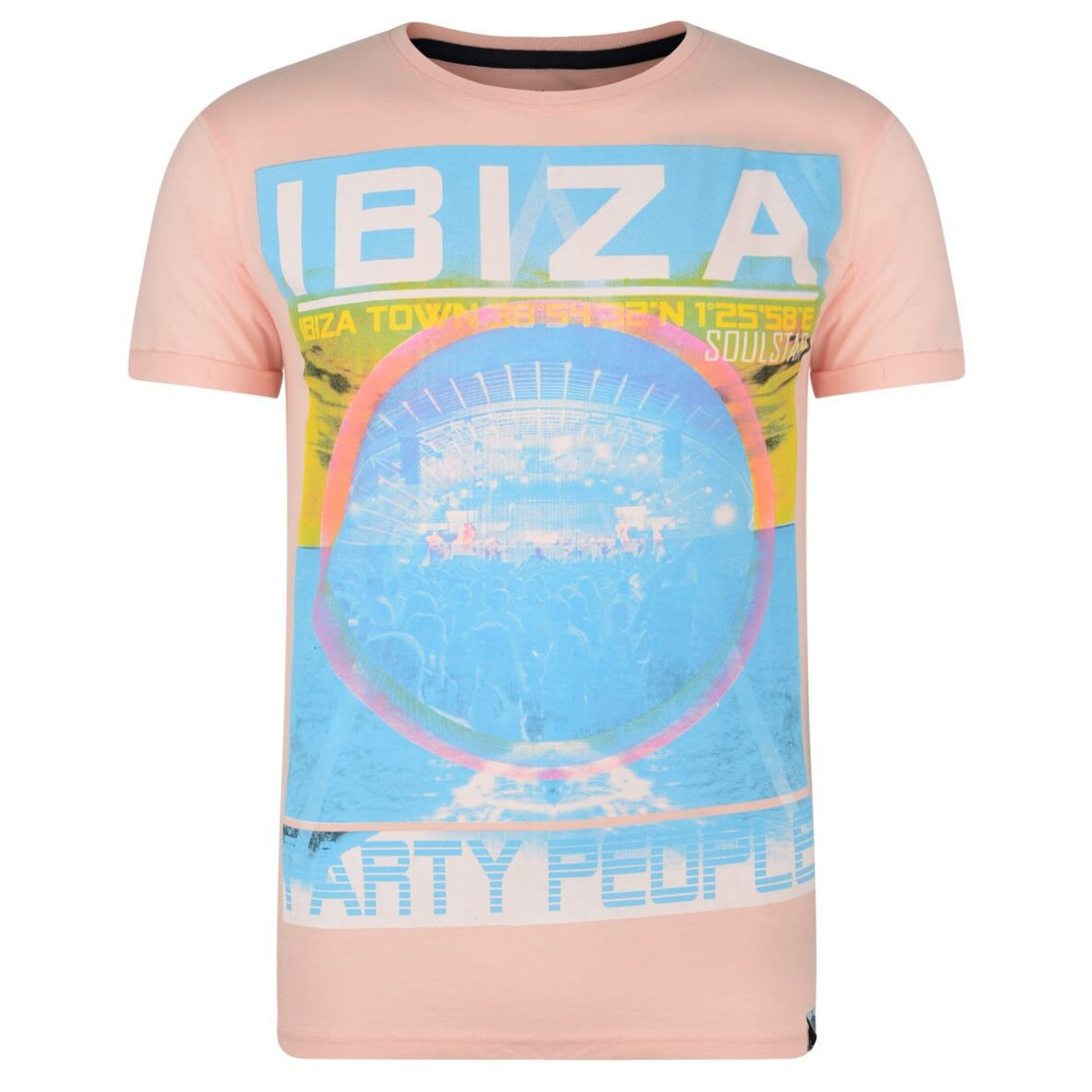 10c4c6a8 Soul Star Print T-shirt Ibiza Party People Pink Image. Double tap to zoom