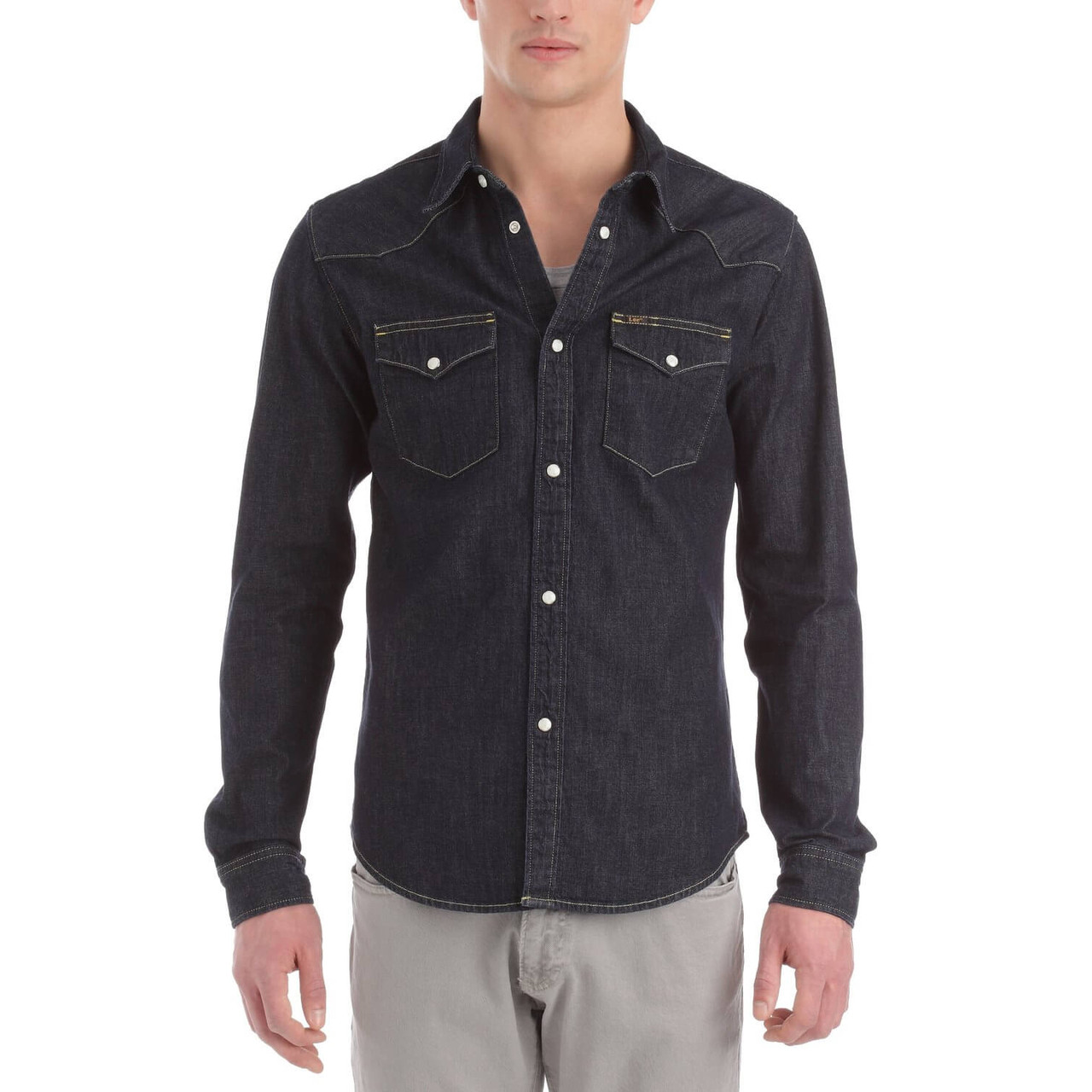 19e1692ca03 Lee Western Denim Shirt Stone Rinse Blue Image. Double tap to zoom