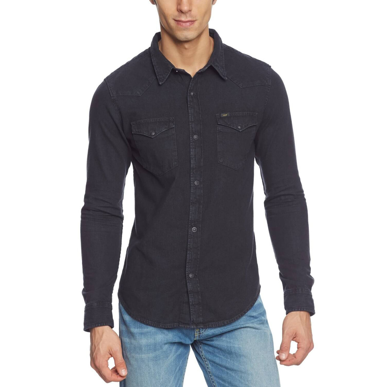 e1b2d2bd Lee Western Denim Shirt Pitch Black Image. Double tap to zoom