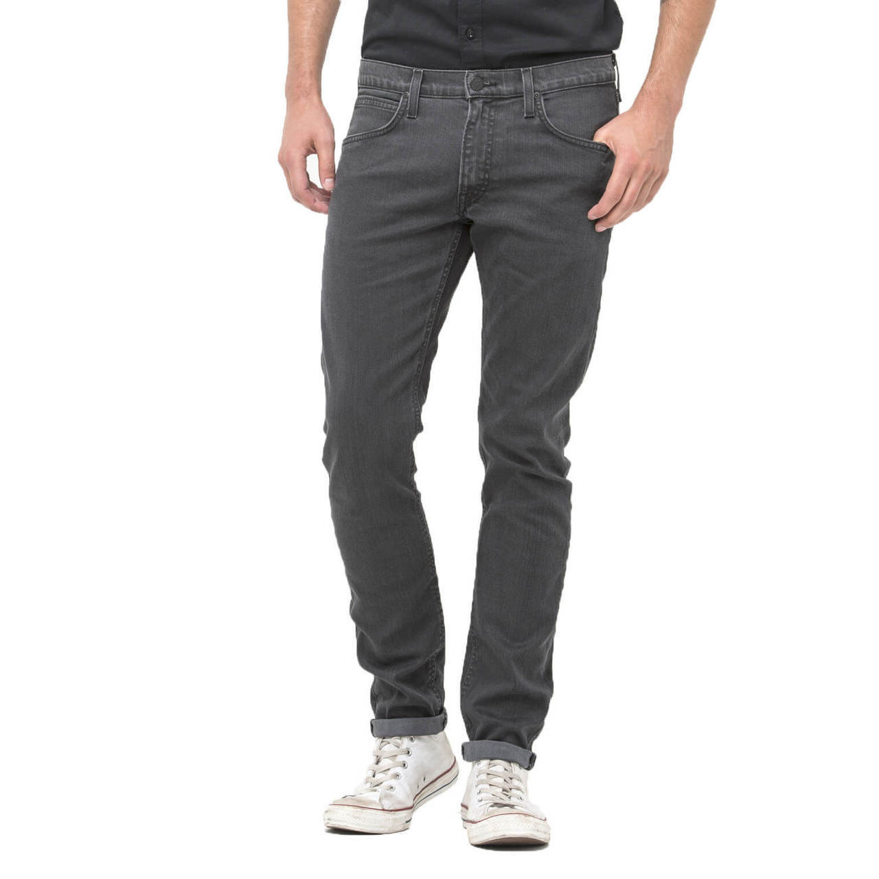 875949d2 Lee Luke Slim Tapered Faded Grey Spark Denim Jeans Image. Double tap to zoom