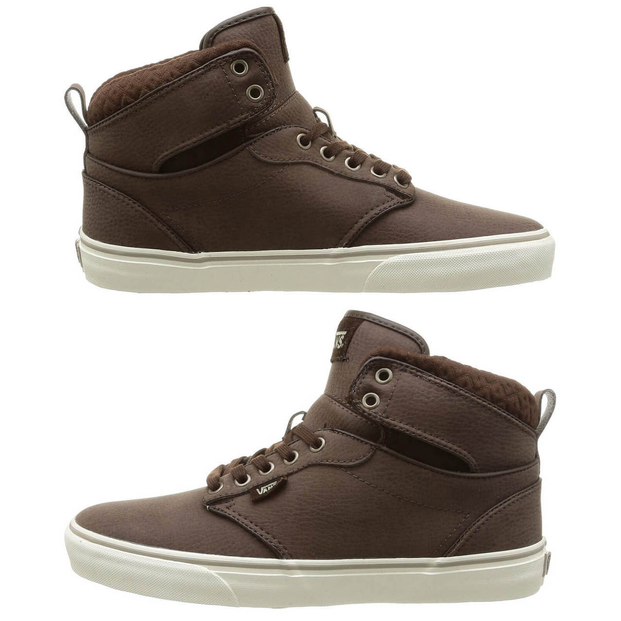 1ef34cc5fc15 Leather Vans Shoes - Men s Atwood High Top Leather Shoes Brown ...