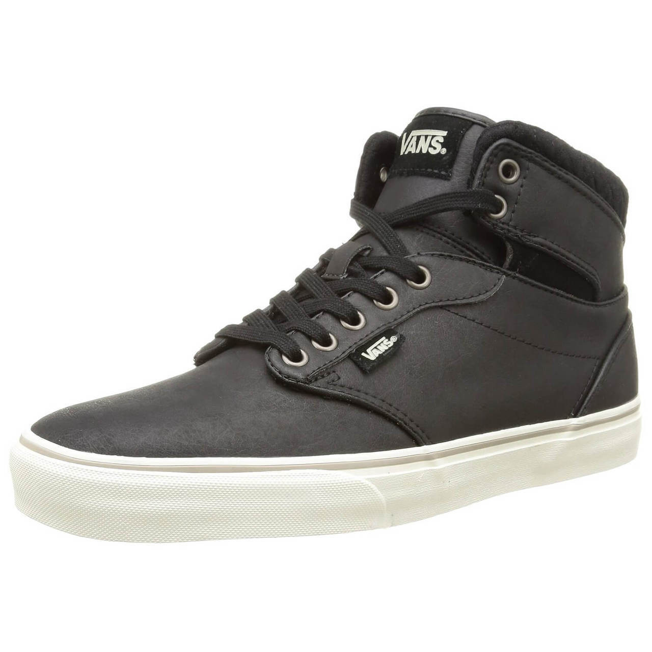 e4301e5fe47 Vans Atwood High Top Leather Shoes Black Image. Double tap to zoom
