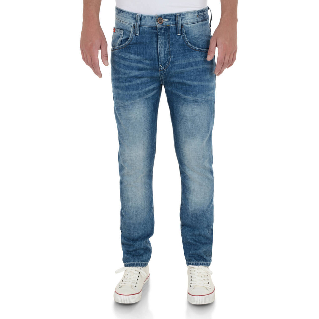 3a08f055 Lee Cooper Tapered Fit Slim Norris Jeans Faded Light Wash Blue Image