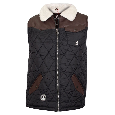 259ec568e2 Kangol Quilt Sherpa Collar Gilet Bodywarmer Black | Jean Scene