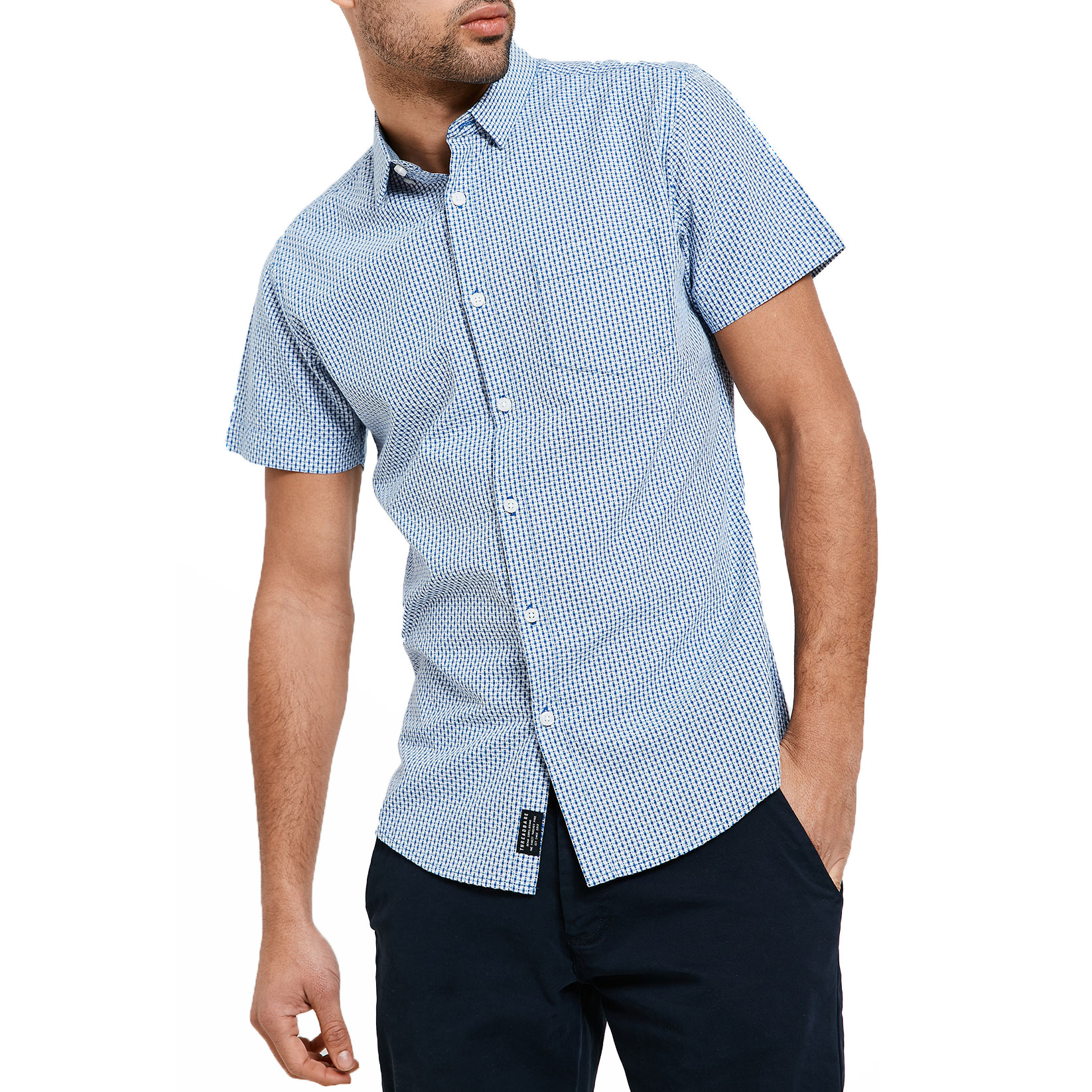 Threadbare Men/'s New Simon Short Sleeve Printed Pattern Shirt Blue