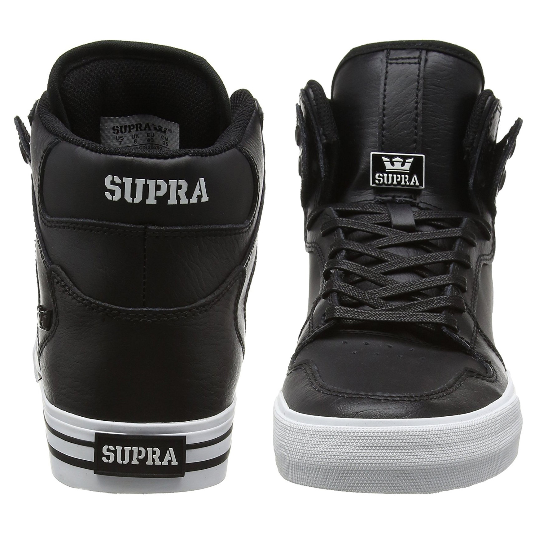 7a993c3a0402 SUPRA Men s Vaider Leather Shoes Trainers Black White