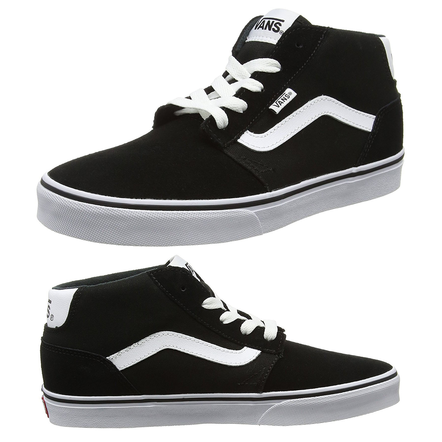 72d2f94bb4f2 Vans Men s Chapman Mid Stripe Suede Canvas Shoes Trainers Black White