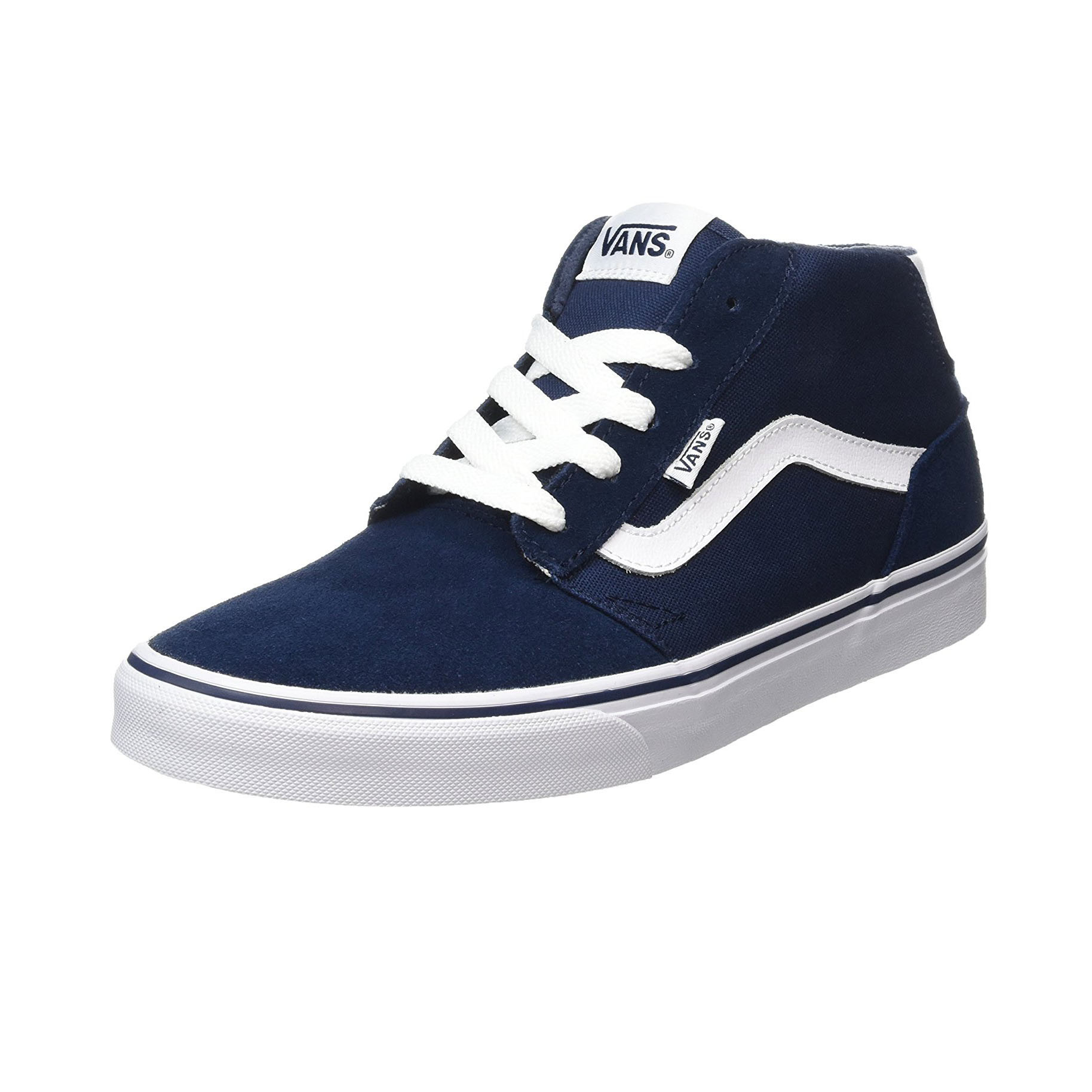 aaf2722755fc1 Vans Men s Chapman Mid Stripe Suede Canvas Shoes Trainers Dress Blue ...