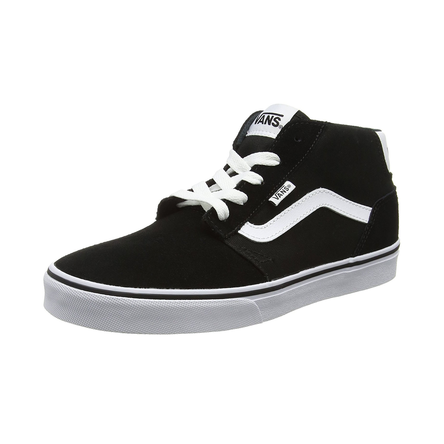 vans men 39 s chapman mid stripe suede canvas shoes trainers black white jean scene. Black Bedroom Furniture Sets. Home Design Ideas
