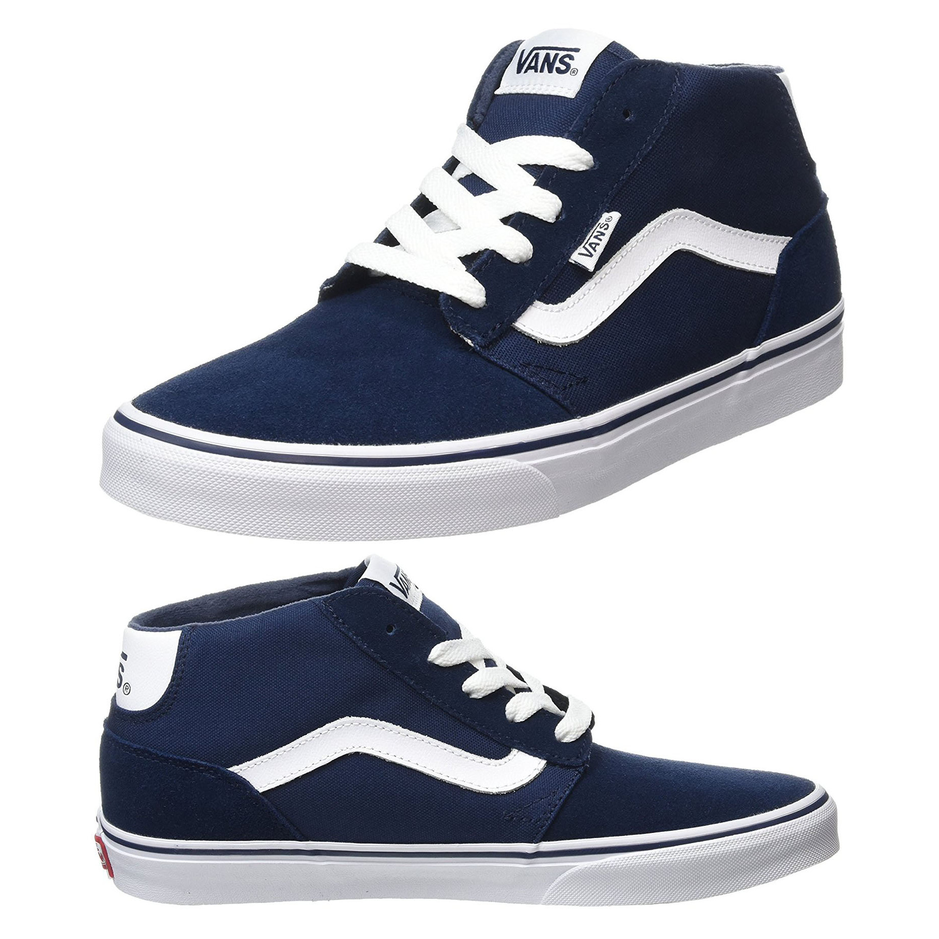 0f062a3856 Vans Men s Chapman Mid Stripe Suede Canvas Shoes Trainers Dress Blue ...