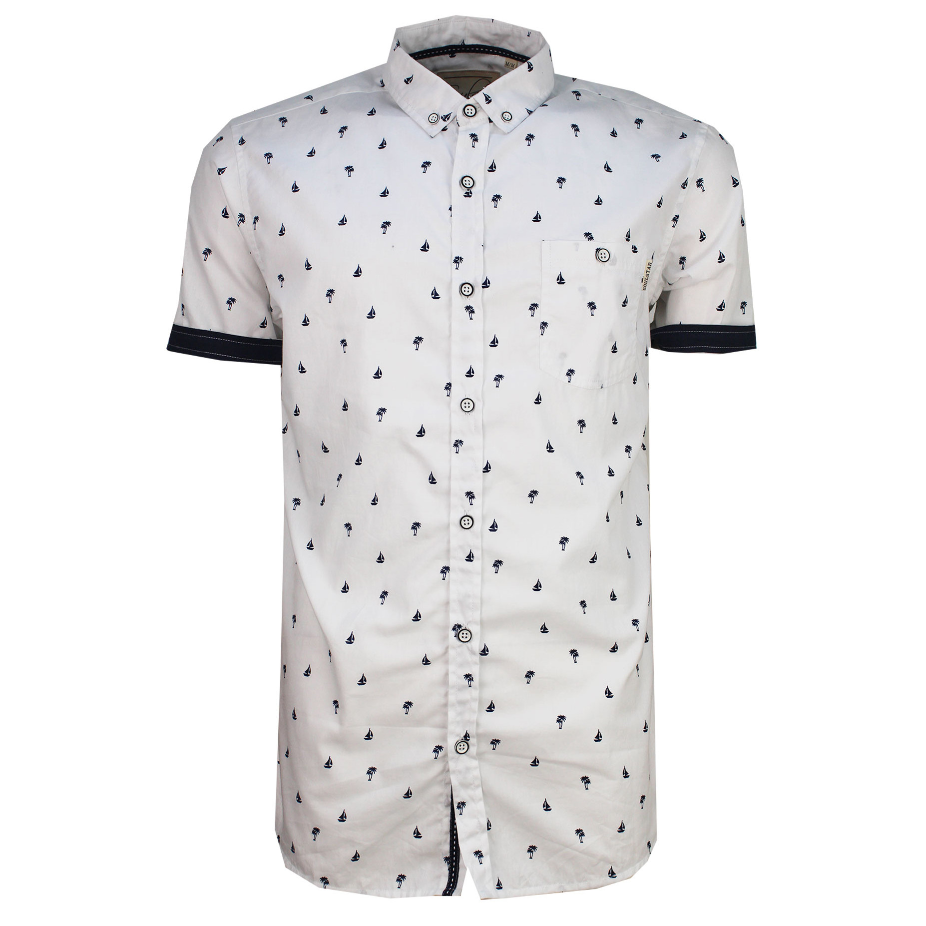 Soulstar Casual Yachting Print Shirt Short Sleeve White Jean Scene Pattern Black Double Tap To Zoom