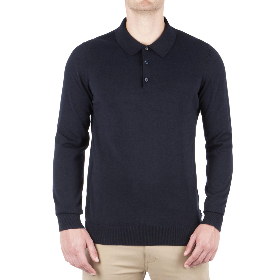 Ben Sherman Long Sleeve Cotton Polo Shirt Dark Navy  d5ae84f63571