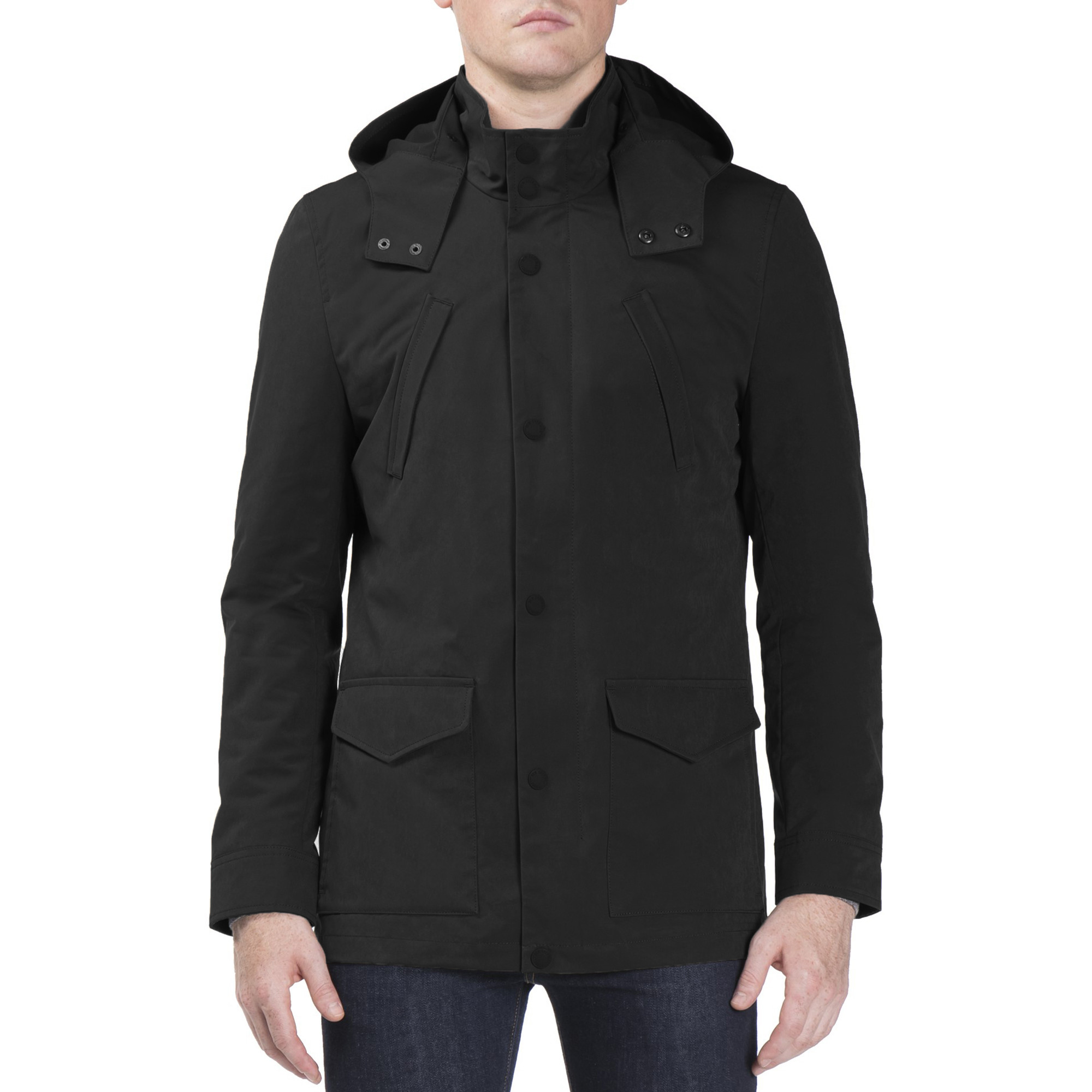 0b9020b96f1 Ben Sherman Luxe Four Pocket Mac Jacket Black