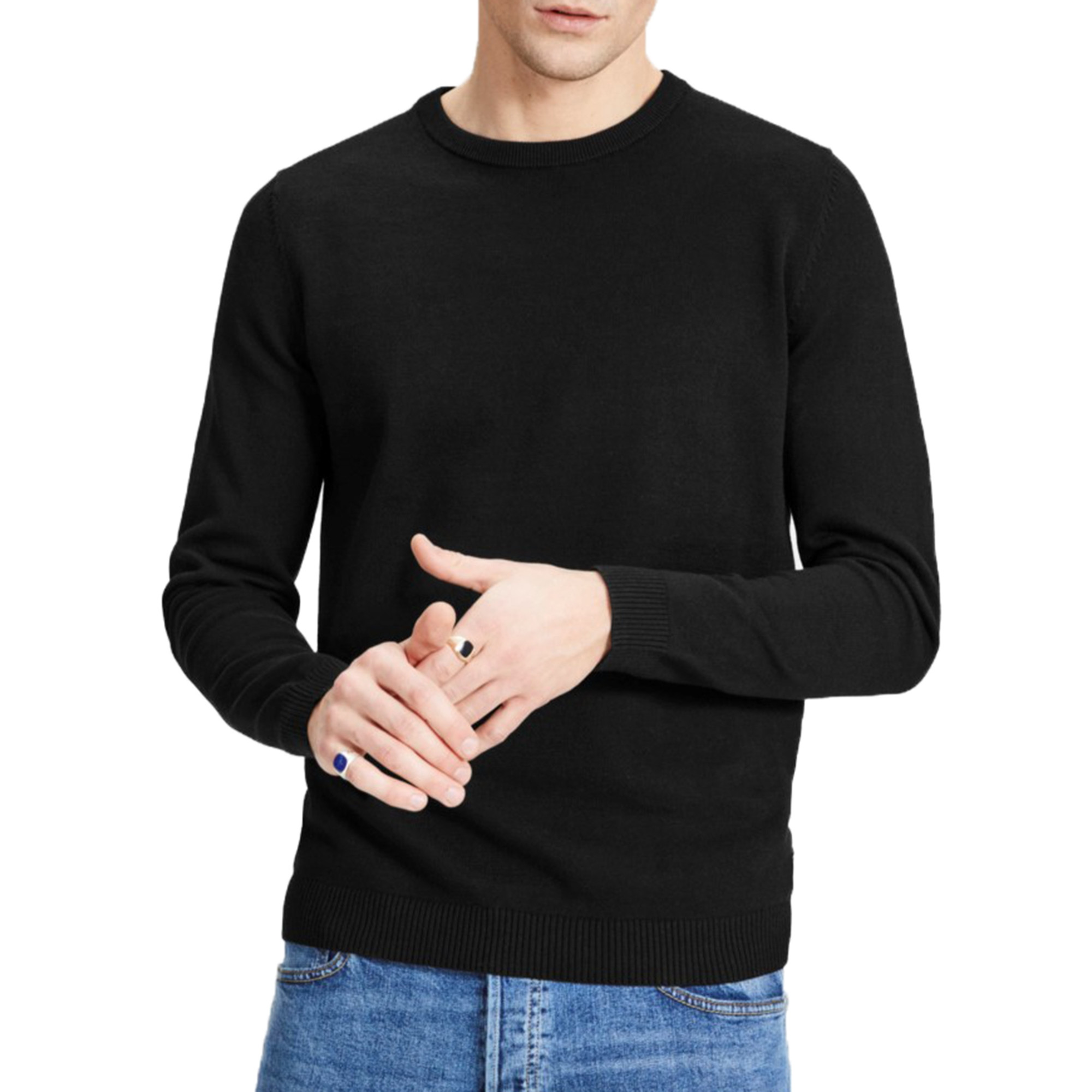 f3e03a9f11c868 Jack & Jones Crew Neck Cotton Knit Jumper Black | Jean Scene