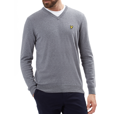 c1010f5eaa8 Lyle   Scott V Neck Cotton Merino Wool Jumper Grey