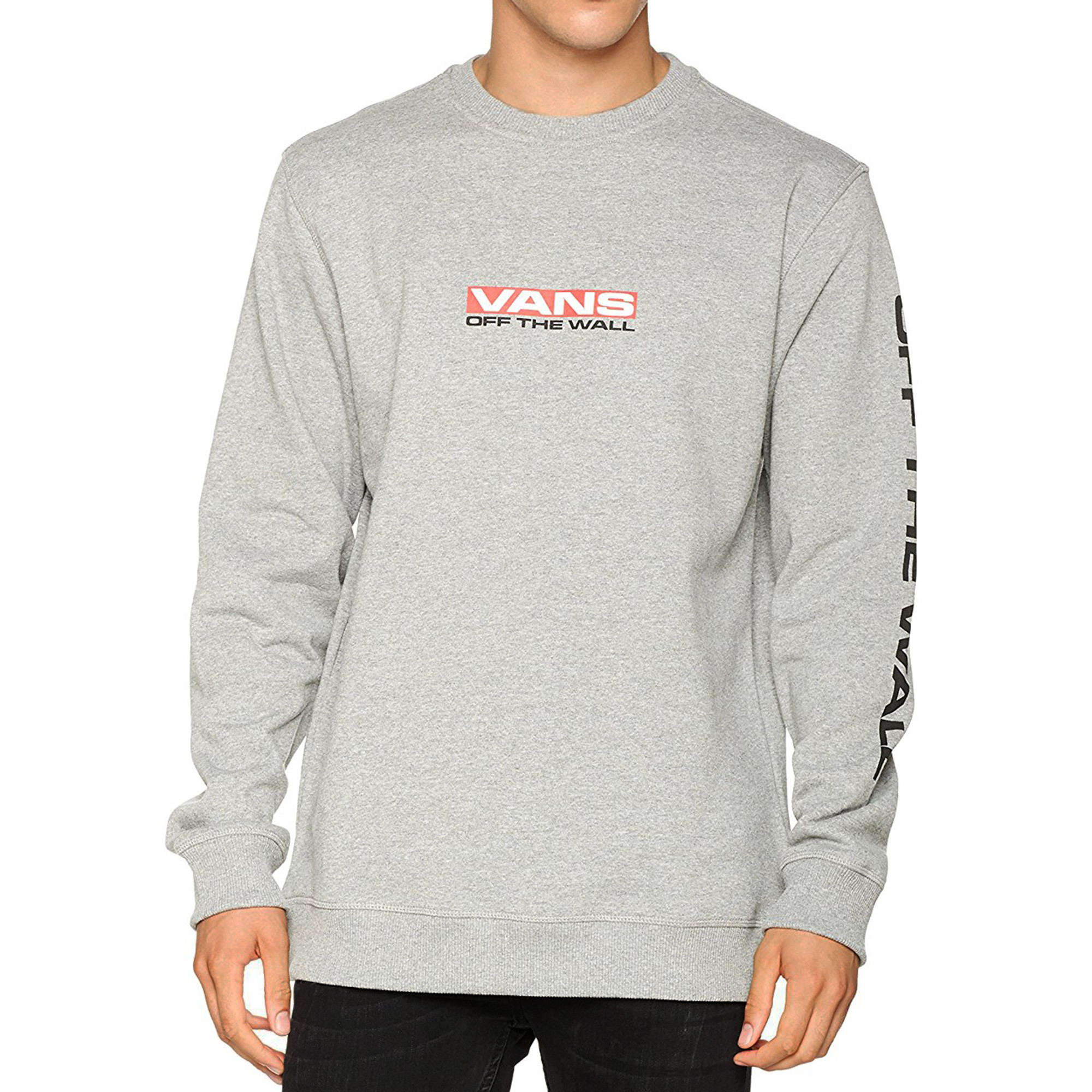 3656aee980 VANS Men s Side Waze Logo Pullover Crew Neck Sweatshirt Cement Heather