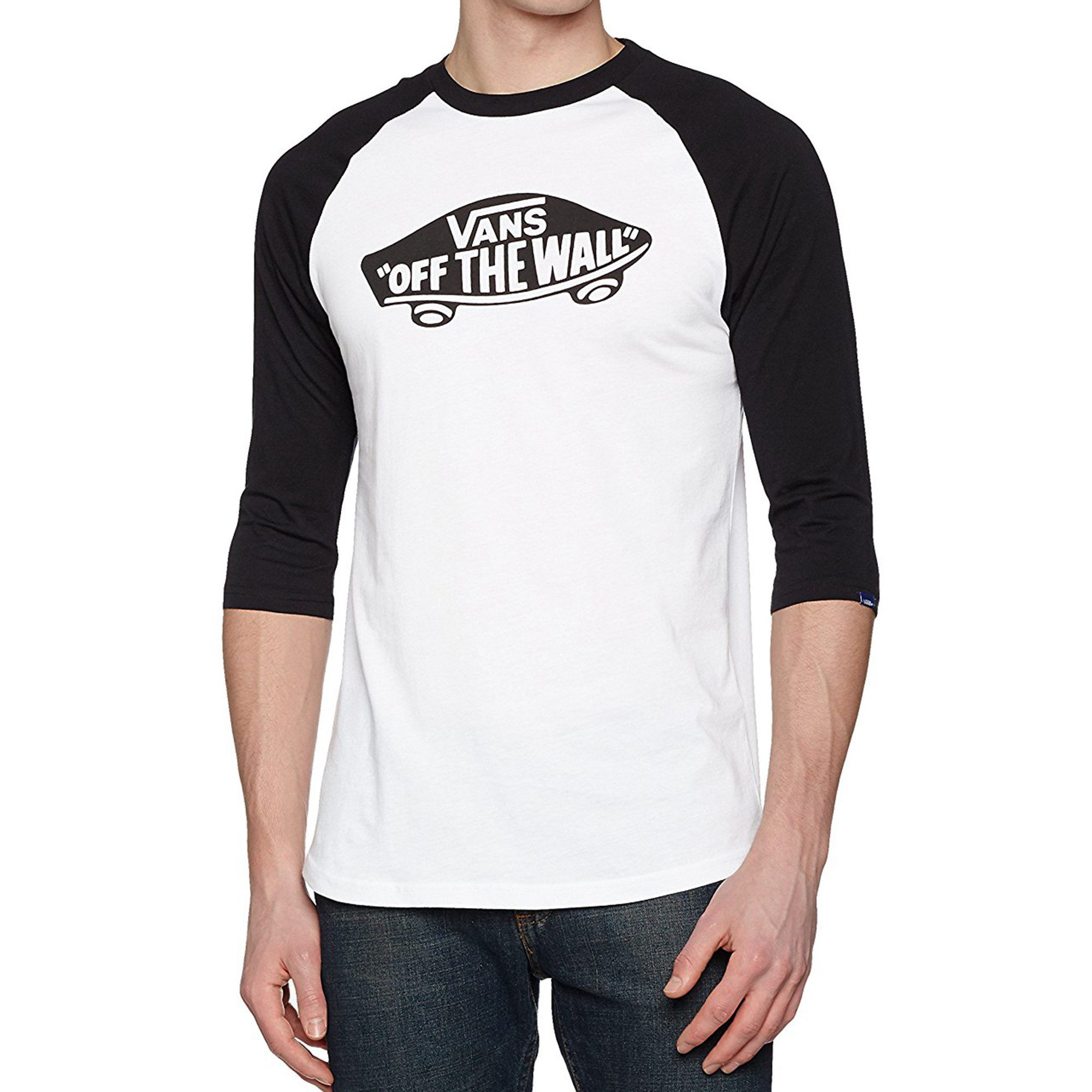 b49d46e8f8 Vans Off The Wall Crew Neck Raglan T-shirt White Black