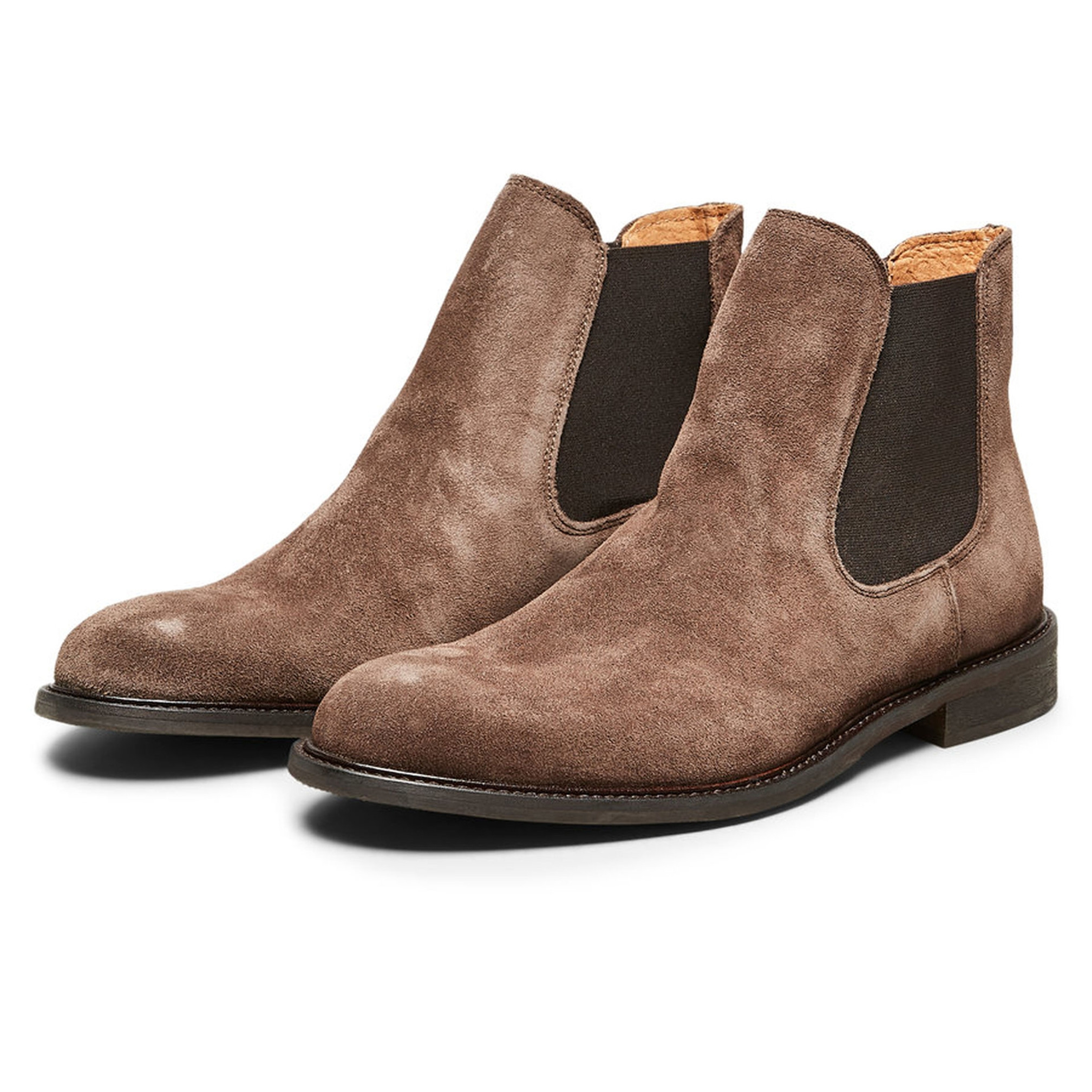 b6e551e8f3c57 Selected Mens Baxter Suede Leather Chelsea Boots Boots Cocoa Brown   Jean  Scene