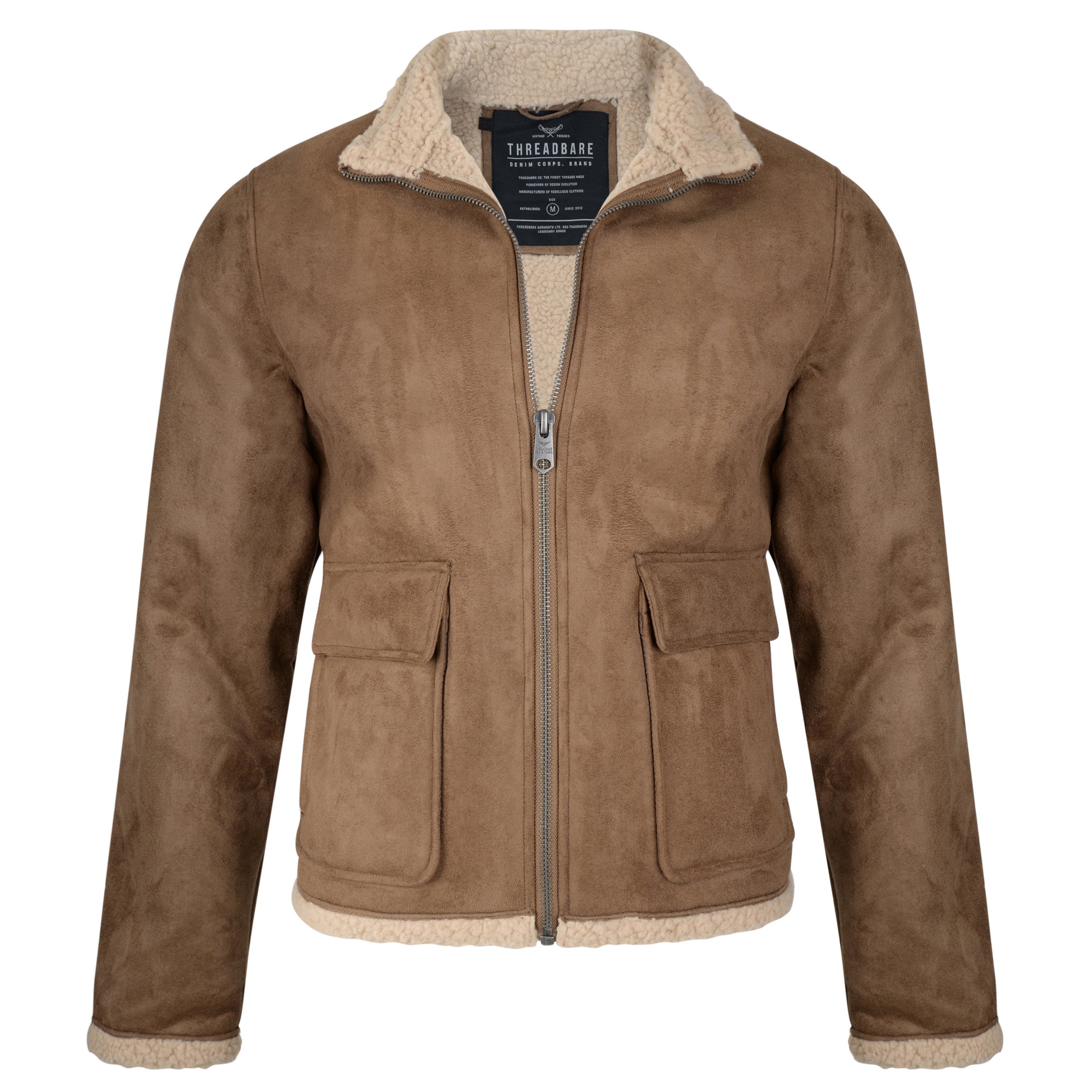 2f600f183 Threadbare Laser Borg Lined Aviator Synthetic Suede Jacket Tan