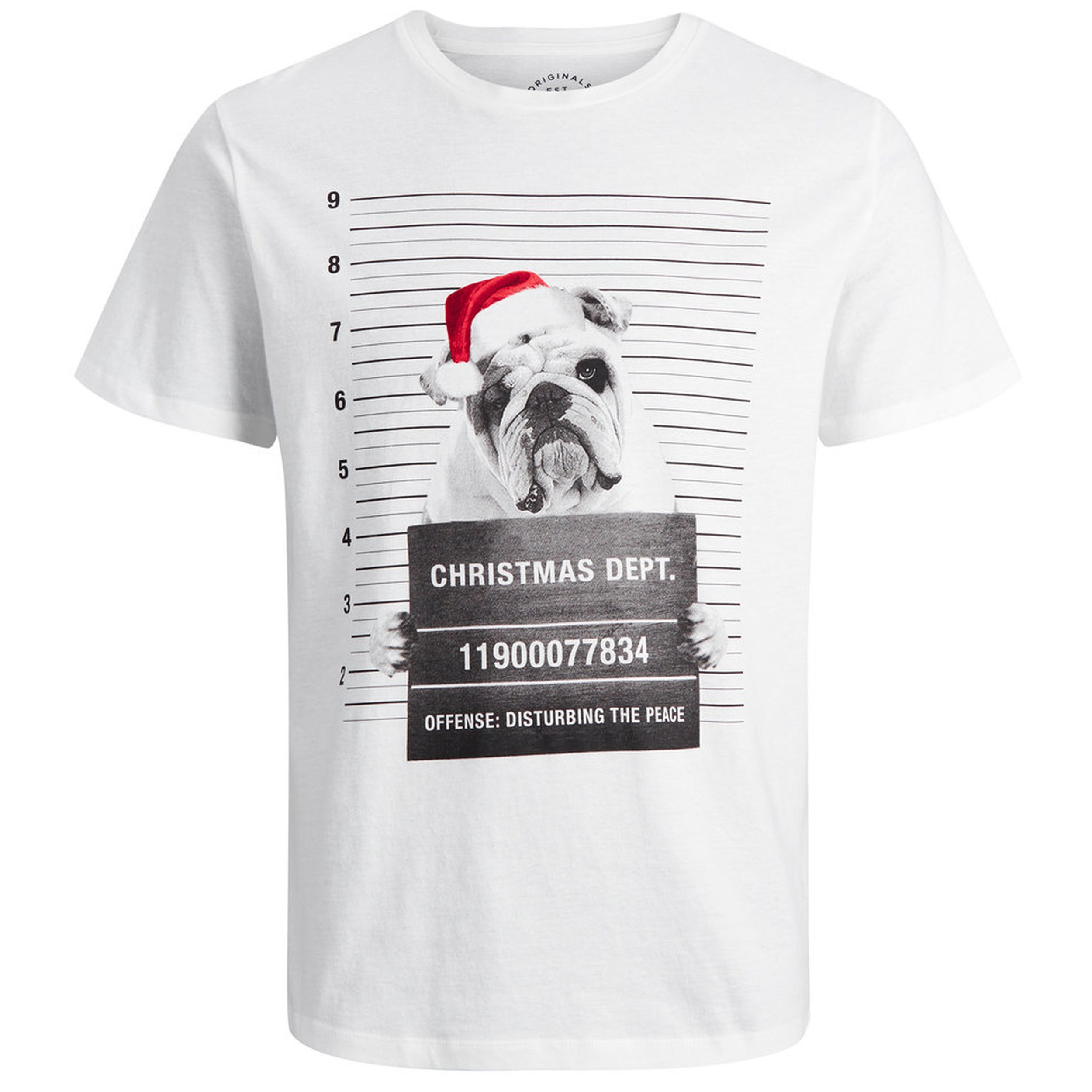 4566a28edaab1 Jack & Jones Crew Neck Jail Photo Dog Christmas Print T-shirt Cloud Dancer  | Jean Scene