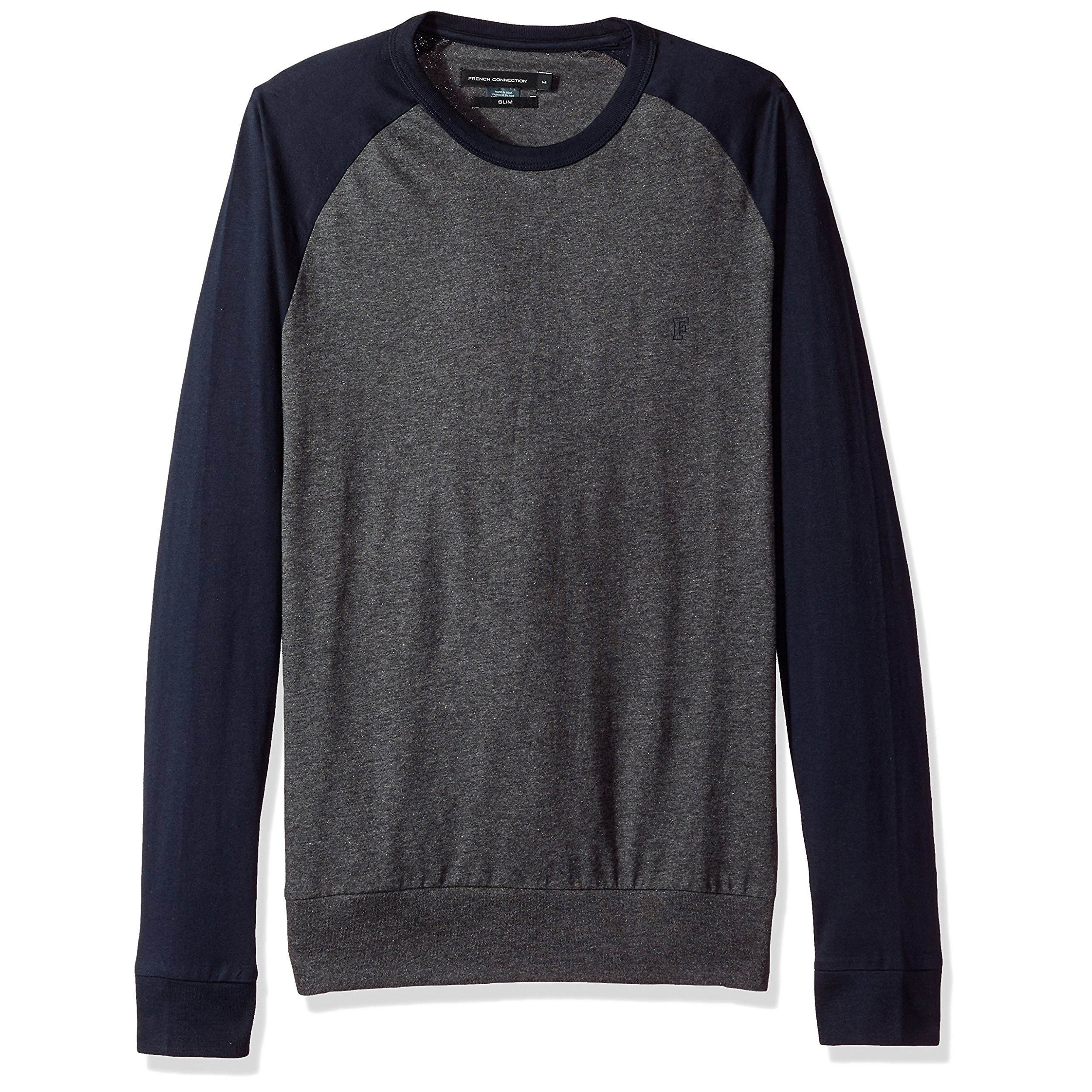 7dc51e335fc6e French Connection Crew Neck Raglan Long Sleeve T-Shirt Long Sleeve Charcoal