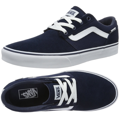 d3ab681d14 Vans Men s Chapman Low Stripe Suede Canvas Shoes Trainers Dress Blue ...