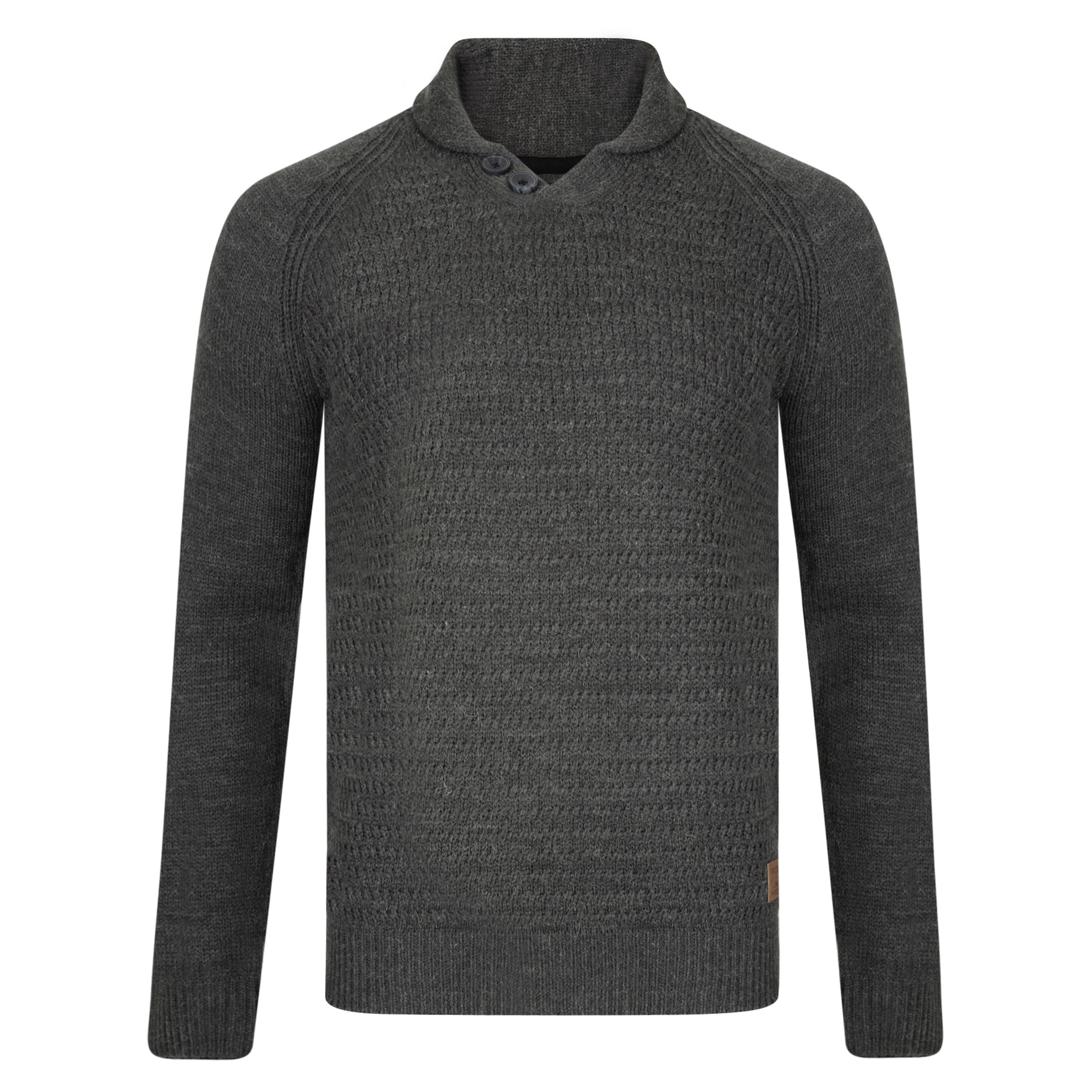 312ad64e3d3 Threadbare Romney Shawl Neck Wool Blend Jumper Charcoal Marl