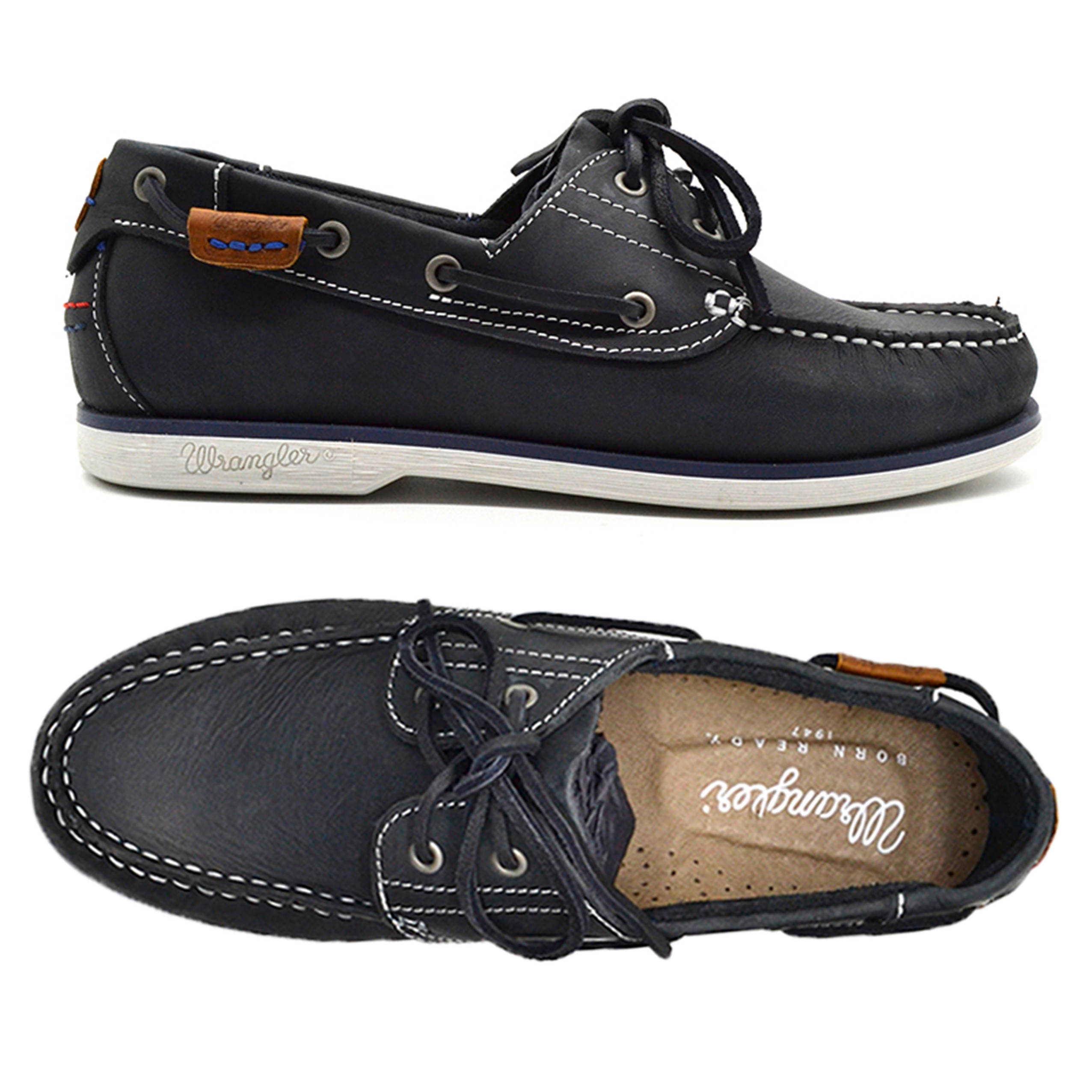 Wrangler Mens Low Ocean Leather Boat Shoes Navy Shoes