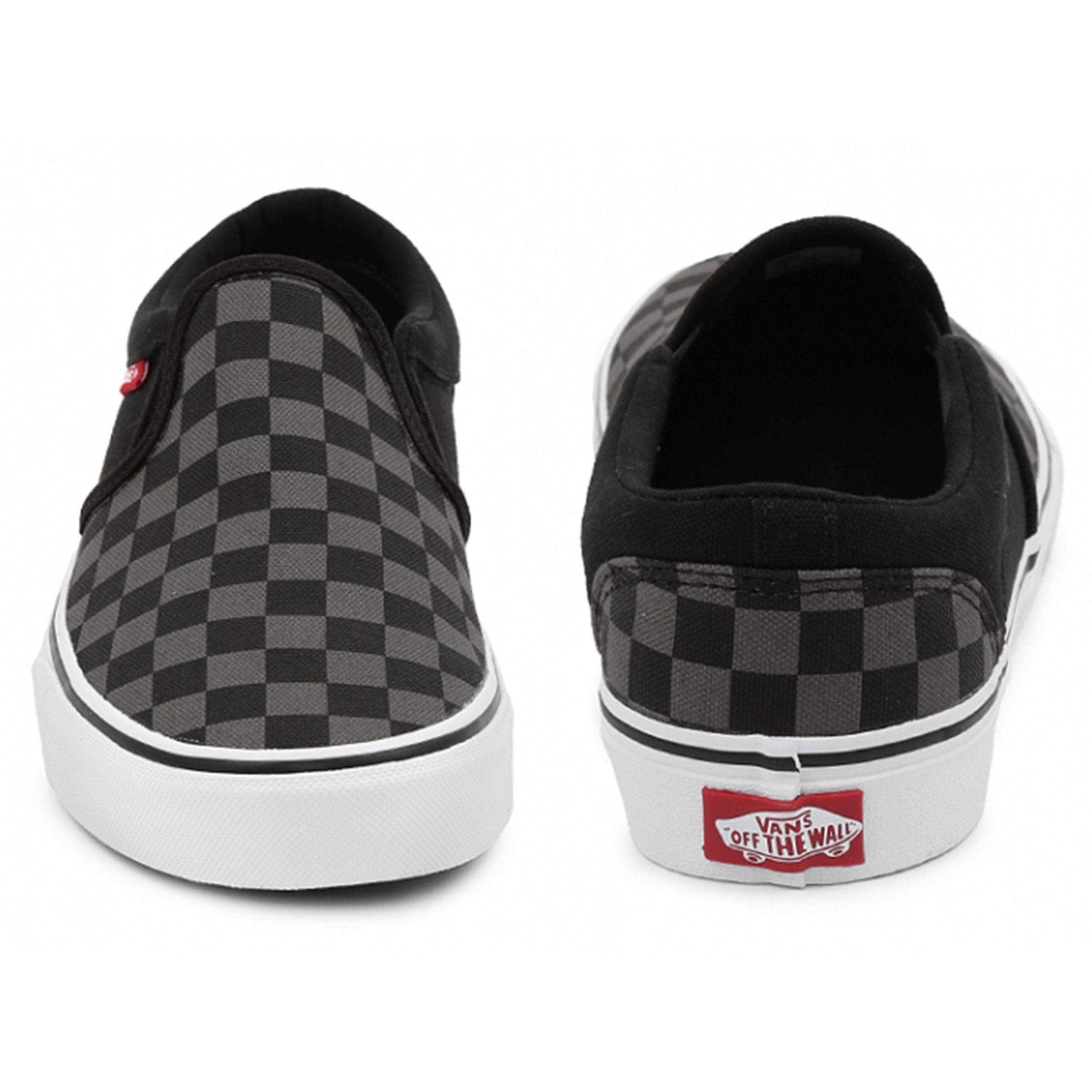 acf06ef23304 Vans Mens Asher Canvas Slip On Shoes Trainers Check Black Grey ...