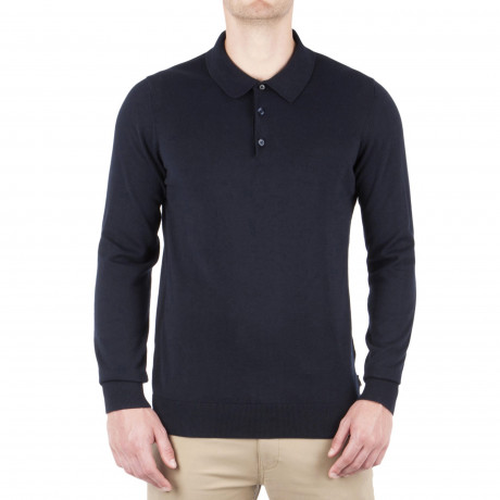 Ben Sherman Long Sleeve Cotton Polo Shirt Dark Navy | Jean Scene