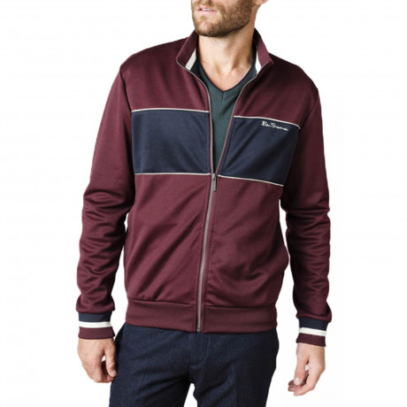 Ben Sherman Men's Tricot Retro Track Jacket Wine | Jean Scene