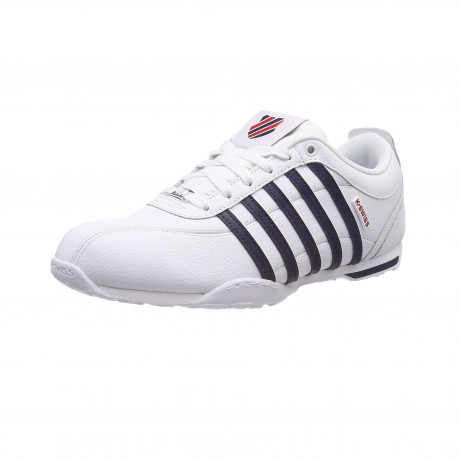 K-Swiss Men's Arvee 1.5 Leather Shoes Trainers White Navy | Jean Scene