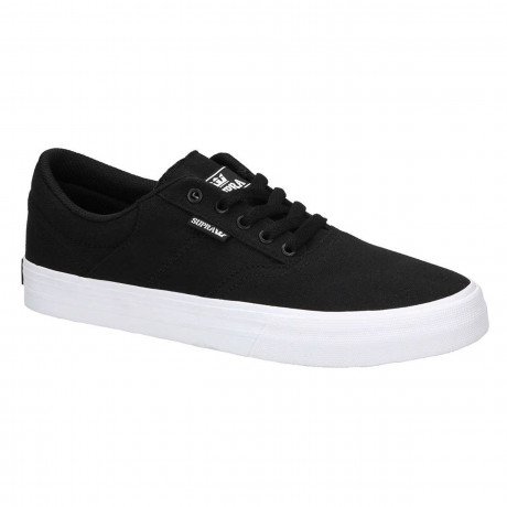 SUPRA Men's Method Canvas Shoes Trainers Black White | Jean Scene
