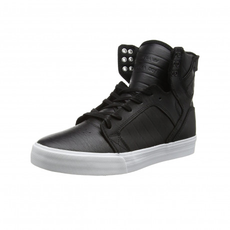 SUPRA Men's Skytop Leather Shoes Trainers Black White | Jean Scene
