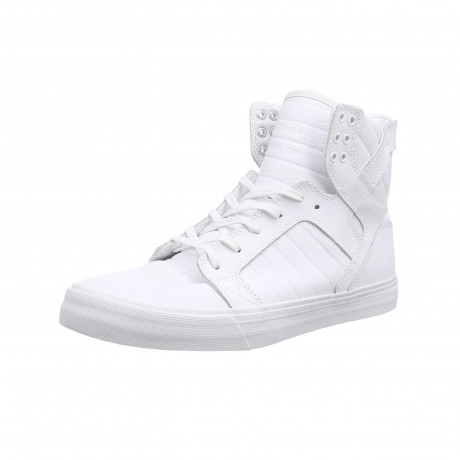 SUPRA Men's Skytop Leather Shoes Trainers White Red | Jean Scene