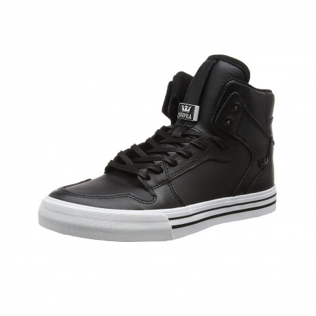 SUPRA Men's Vaider Leather Shoes Trainers Black White | Jean Scene
