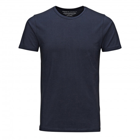 Jack & Jones Basic Crew Neck Cotton Lycra Plain T-shirt Navy Blue | Jean Scene