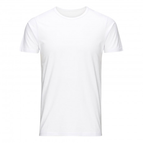 Jack & Jones Basic Crew Neck Cotton Lycra Plain T-shirt Optical White | Jean Scene