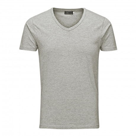 Jack & Jones Basic Vee Neck Cotton Lycra Plain T-shirt Light Grey Melange | Jean Scene
