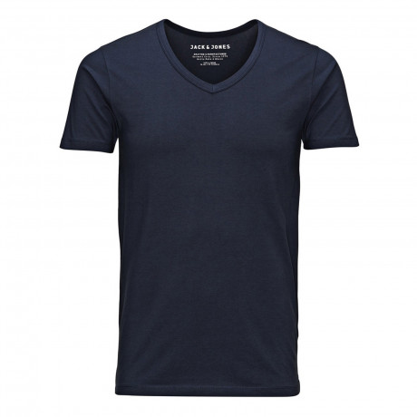 Jack & Jones Basic Vee Neck Cotton Lycra Plain T-shirt Navy Blue | Jean Scene