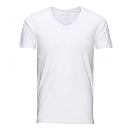 Jack & Jones Basic Vee Neck Cotton Lycra Plain T-shirt Optical White | Jean Scene
