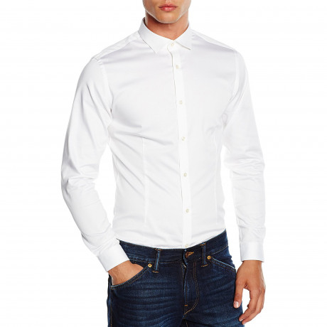 Jack & Jones Slim Parma Long Sleeve Shirt White | Jean Scene