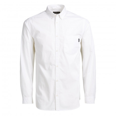 Jack & Jones Gavin Plain Shirt Long Sleeve White | Jean Scene
