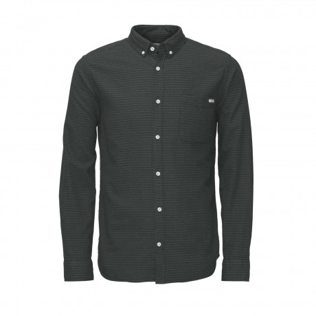 Jack & Jones Ground Pattern Shirt Long Sleeve Asphalt | Jean Scene