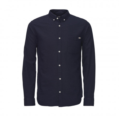 Jack & Jones Ground Pattern Shirt Long Sleeve Navy Blazer | Jean Scene