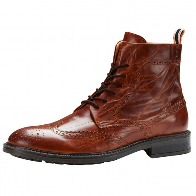 Jack & Jones Mens High Leather Hugh Brogue Boots Cognac Shoes | Jean Scene