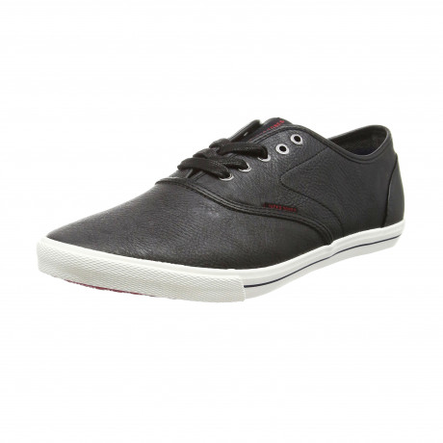 Jack & Jones Men's Low Spider Synethetic Leather Shoes Black | Jean Scene